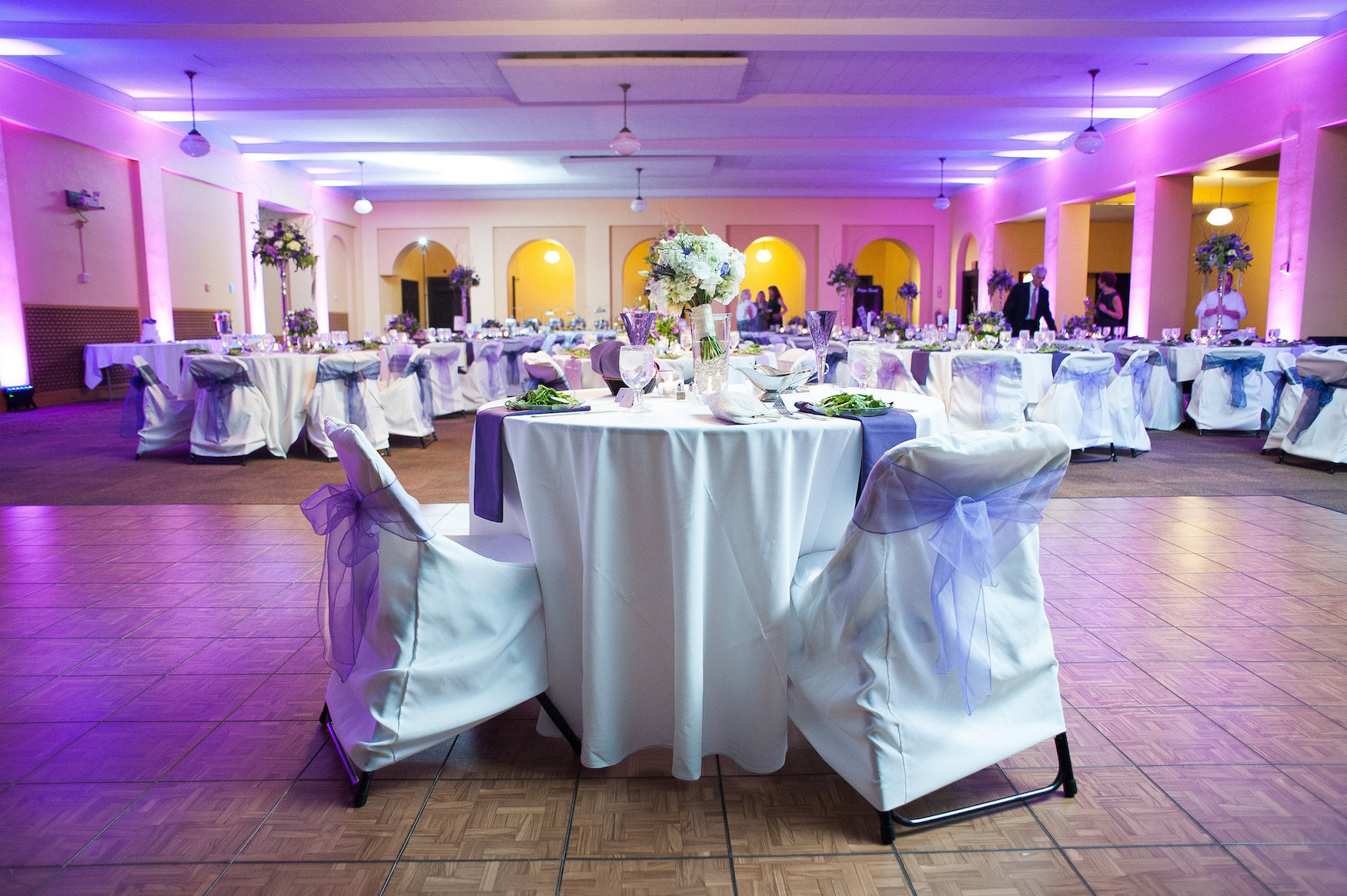 Ballroom wedding purple